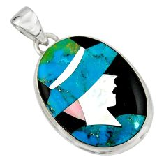 Lady cameo natural blue chrysocolla onyx 925 sterling silver pendant r26446