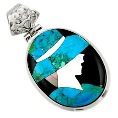 Lady cameo natural blue chrysocolla onyx 925 sterling silver pendant r26447