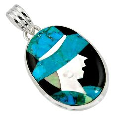 Lady cameo natural blue chrysocolla onyx 925 sterling silver pendant r26449