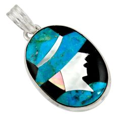 Lady cameo natural blue chrysocolla onyx 925 sterling silver pendant r26450