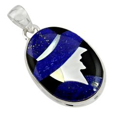 Lady cameo natural blue lapis lazuli onyx 925 sterling silver pendant r26455