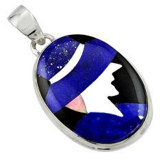 Lady cameo natural blue lapis lazuli onyx 925 sterling silver pendant r26458