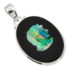 18.70cts lady face natural black opal cameo on black onyx silver pendant d45249