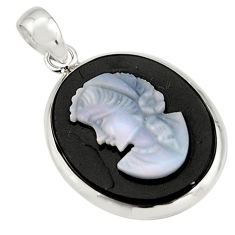 16.28cts lady face natural black opal cameo on black onyx silver pendant r20213
