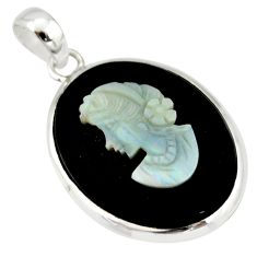 15.31cts lady face natural black opal cameo on black onyx silver pendant r20888