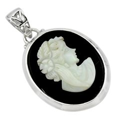 17.42cts lady face natural opal cameo on black onyx 925 silver pendant r48782