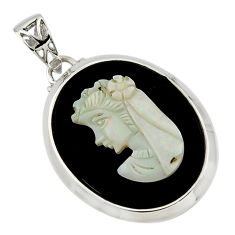17.42cts lady face natural opal cameo on black onyx 925 silver pendant r48783