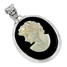 18.46cts lady face natural opal cameo on black onyx 925 silver pendant r48785