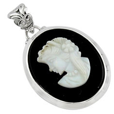 20.07cts lady face natural opal cameo on black onyx 925 silver pendant r48787