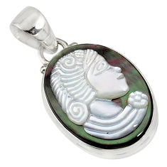 10.65cts lady face natural titanium cameo on shell 925 silver pendant r80369