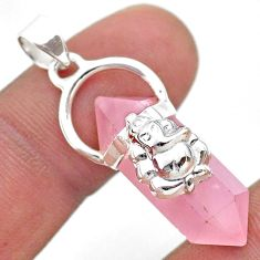 13.08cts lord ganesha double pointer natural rose quartz silver pendant t44391