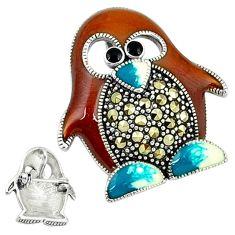 Marcasite enamel 925 sterling silver penguin charm brooch pendant jewelry c18881