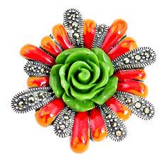 8.89gms marcasite enamel 925 sterling silver flower pendant jewelry c21378