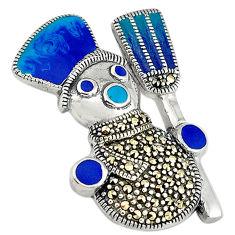 9.02gms marcasite enamel 925 sterling silver pendant jewelry c16476