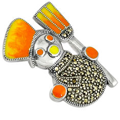 8.23gms marcasite enamel 925 sterling silver pendant jewelry c16478