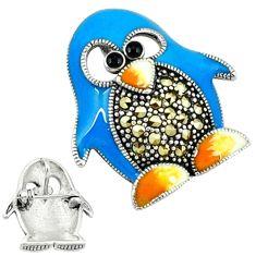 Marcasite enamel 925 sterling silver penguin charm brooch pendant jewelry c18897
