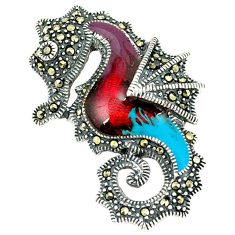 Marcasite multi color enamel 925 sterling silver seahorse pendant jewelry c21043