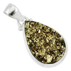 13.15cts marcasite pyrite druzy 925 sterling silver handmade pendant r85821