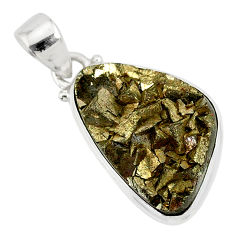 14.90cts marcasite pyrite druzy 925 sterling silver handmade pendant r85830