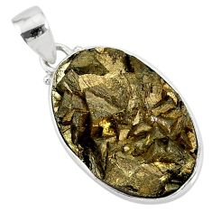 25.03cts marcasite pyrite druzy 925 sterling silver handmade pendant r85853