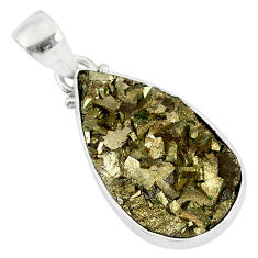 14.23cts marcasite pyrite druzy 925 sterling silver handmade pendant r85861