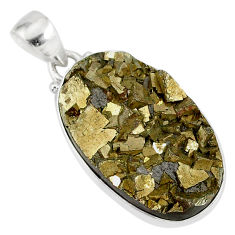 26.16cts marcasite pyrite druzy 925 sterling silver handmade pendant r85875