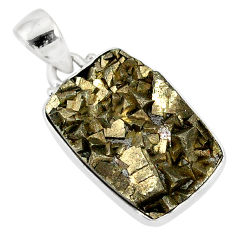 17.22cts marcasite pyrite druzy 925 sterling silver handmade pendant r85878