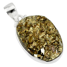 22.02cts marcasite pyrite druzy 925 sterling silver handmade pendant r85886