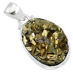 14.70cts marcasite pyrite druzy oval 925 sterling silver handmade pendant r85847