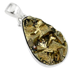 17.22cts marcasite pyrite druzy pear 925 sterling silver handmade pendant r85870