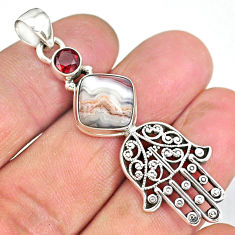 6.53cts mexican laguna lace agate 925 silver hand of god hamsa pendant r90366