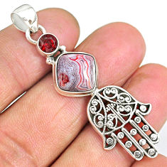 6.48cts mexican laguna lace agate 925 silver hand of god hamsa pendant r90390