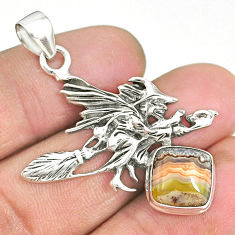 5.68cts mexican laguna lace agate silver pentacle witches broom pendant r90445