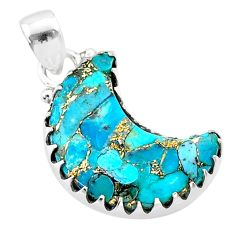 8.87cts moon blue copper turquoise 925 sterling silver pendant t45606