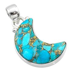 9.35cts moon blue copper turquoise 925 sterling silver pendant t45695