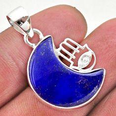 11.57cts moon blue lapis lazuli silver hand of god hamsa pendant t46542