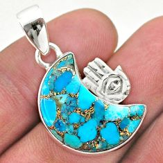 12.03cts moon copper turquoise 925 silver hand of god hamsa pendant t46550