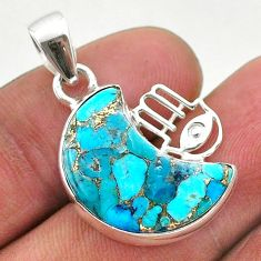 9.88cts moon copper turquoise 925 silver hand of god hamsa pendant t46553