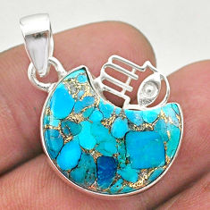 11.57cts moon copper turquoise 925 silver hand of god hamsa pendant t46563
