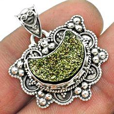 5.79cts moon golden druzy fancy 925 sterling silver pendant jewelry t56227