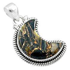10.17cts moon natural black australian obsidian 925 silver pendant t45798