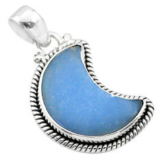 9.81cts moon natural blue angelite 925 sterling silver pendant jewelry t45785