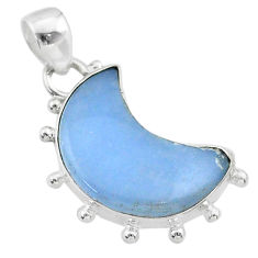 9.37cts moon natural blue angelite 925 sterling silver handmade pendant t45703