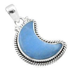 9.50cts moon natural blue angelite 925 sterling silver pendant t45789