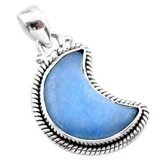 11.62cts moon natural blue angelite 925 sterling silver pendant t45819