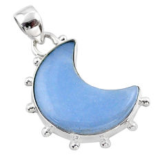 9.86cts moon natural blue angelite 925 sterling silver pendant t45837