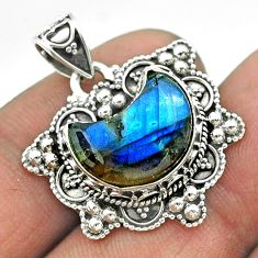 5.79cts moon natural blue labradorite 925 sterling silver pendant jewelry t56221