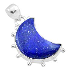 11.07cts moon natural blue lapis lazuli 925 sterling silver pendant t45717