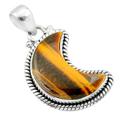 9.47cts moon natural brown tiger's eye 925 sterling silver pendant t45784