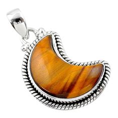 12.06cts moon natural brown tiger's eye 925 sterling silver pendant t45813